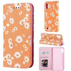 Ultra Slim Daisy Sparkle Glitter Powder Magnetic Leather Wallet Case for Samsung Galaxy M10 - Orange