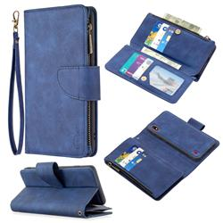Binfen Color BF02 Sensory Buckle Zipper Multifunction Leather Phone Wallet for Samsung Galaxy M10 - Blue