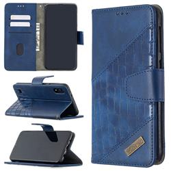 BinfenColor BF04 Color Block Stitching Crocodile Leather Case Cover for Samsung Galaxy M10 - Blue