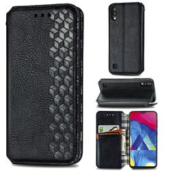 Ultra Slim Fashion Business Card Magnetic Automatic Suction Leather Flip Cover for Samsung Galaxy M10 - Black