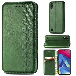 Ultra Slim Fashion Business Card Magnetic Automatic Suction Leather Flip Cover for Samsung Galaxy M10 - Green