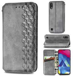 Ultra Slim Fashion Business Card Magnetic Automatic Suction Leather Flip Cover for Samsung Galaxy M10 - Grey