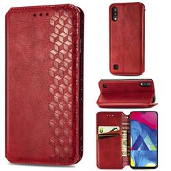Ultra Slim Fashion Business Card Magnetic Automatic Suction Leather Flip Cover for Samsung Galaxy M10 - Red