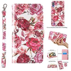 Red Flower 3D Painted Leather Wallet Case for Samsung Galaxy M10
