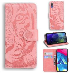 Intricate Embossing Tiger Face Leather Wallet Case for Samsung Galaxy M10 - Pink