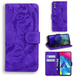 Intricate Embossing Tiger Face Leather Wallet Case for Samsung Galaxy M10 - Purple