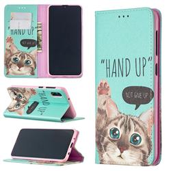 Hand Up Cat Slim Magnetic Attraction Wallet Flip Cover for Samsung Galaxy M10