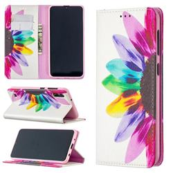 Sun Flower Slim Magnetic Attraction Wallet Flip Cover for Samsung Galaxy M10
