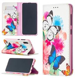 Flying Butterflies Slim Magnetic Attraction Wallet Flip Cover for Samsung Galaxy M10