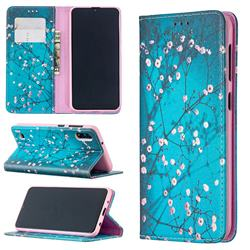 Plum Blossom Slim Magnetic Attraction Wallet Flip Cover for Samsung Galaxy M10