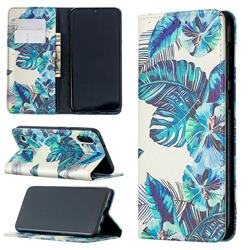 Blue Leaf Slim Magnetic Attraction Wallet Flip Cover for Samsung Galaxy M10