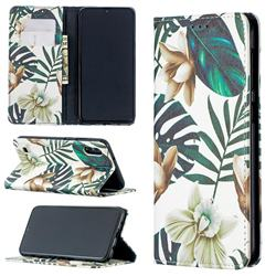 Flower Leaf Slim Magnetic Attraction Wallet Flip Cover for Samsung Galaxy M10