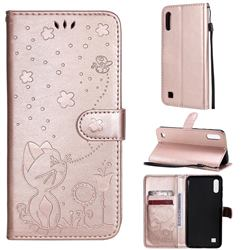 Embossing Bee and Cat Leather Wallet Case for Samsung Galaxy M10 - Rose Gold