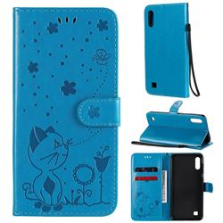 Embossing Bee and Cat Leather Wallet Case for Samsung Galaxy M10 - Blue