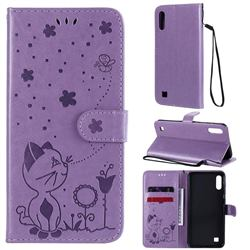 Embossing Bee and Cat Leather Wallet Case for Samsung Galaxy M10 - Purple