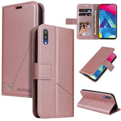 GQ.UTROBE Right Angle Silver Pendant Leather Wallet Phone Case for Samsung Galaxy M10 - Rose Gold