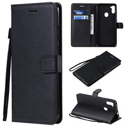 Retro Greek Classic Smooth PU Leather Wallet Phone Case for Samsung Galaxy M11 - Black