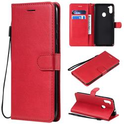 Retro Greek Classic Smooth PU Leather Wallet Phone Case for Samsung Galaxy M11 - Red