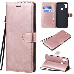 Retro Greek Classic Smooth PU Leather Wallet Phone Case for Samsung Galaxy M11 - Rose Gold