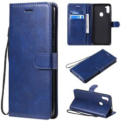 Retro Greek Classic Smooth PU Leather Wallet Phone Case for Samsung Galaxy M11 - Blue