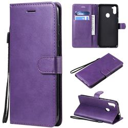 Retro Greek Classic Smooth PU Leather Wallet Phone Case for Samsung Galaxy M11 - Purple