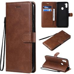 Retro Greek Classic Smooth PU Leather Wallet Phone Case for Samsung Galaxy M11 - Brown