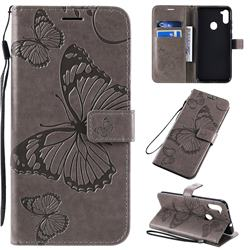 Embossing 3D Butterfly Leather Wallet Case for Samsung Galaxy M11 - Gray
