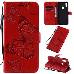 Embossing 3D Butterfly Leather Wallet Case for Samsung Galaxy M11 - Red