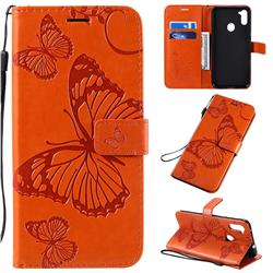 Embossing 3D Butterfly Leather Wallet Case for Samsung Galaxy M11 - Orange