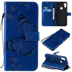 Embossing 3D Butterfly Leather Wallet Case for Samsung Galaxy M11 - Blue