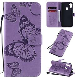 Embossing 3D Butterfly Leather Wallet Case for Samsung Galaxy M11 - Purple