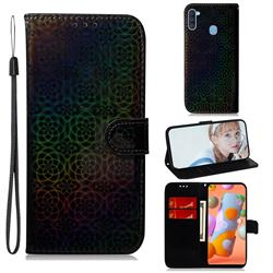 Laser Circle Shining Leather Wallet Phone Case for Samsung Galaxy M11 - Black