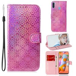 Laser Circle Shining Leather Wallet Phone Case for Samsung Galaxy M11 - Pink