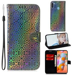 Laser Circle Shining Leather Wallet Phone Case for Samsung Galaxy M11 - Silver