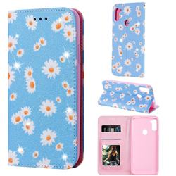 Ultra Slim Daisy Sparkle Glitter Powder Magnetic Leather Wallet Case for Samsung Galaxy M11 - Blue