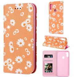 Ultra Slim Daisy Sparkle Glitter Powder Magnetic Leather Wallet Case for Samsung Galaxy M11 - Orange