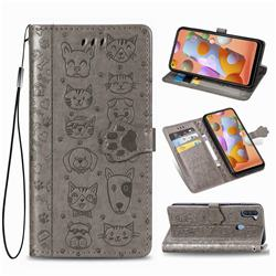 Embossing Dog Paw Kitten and Puppy Leather Wallet Case for Samsung Galaxy M11 - Gray