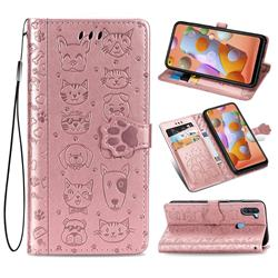 Embossing Dog Paw Kitten and Puppy Leather Wallet Case for Samsung Galaxy M11 - Rose Gold