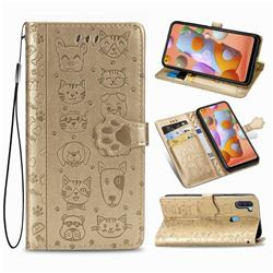 Embossing Dog Paw Kitten and Puppy Leather Wallet Case for Samsung Galaxy M11 - Champagne Gold