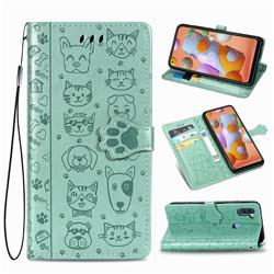 Embossing Dog Paw Kitten and Puppy Leather Wallet Case for Samsung Galaxy M11 - Green