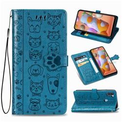 Embossing Dog Paw Kitten and Puppy Leather Wallet Case for Samsung Galaxy M11 - Blue