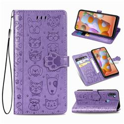 Embossing Dog Paw Kitten and Puppy Leather Wallet Case for Samsung Galaxy M11 - Purple