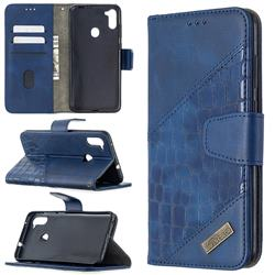 BinfenColor BF04 Color Block Stitching Crocodile Leather Case Cover for Samsung Galaxy M11 - Blue