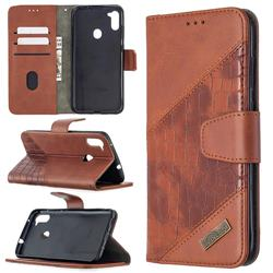 BinfenColor BF04 Color Block Stitching Crocodile Leather Case Cover for Samsung Galaxy M11 - Brown