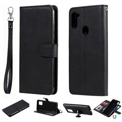 Retro Greek Detachable Magnetic PU Leather Wallet Phone Case for Samsung Galaxy M11 - Black