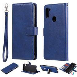 Retro Greek Detachable Magnetic PU Leather Wallet Phone Case for Samsung Galaxy M11 - Blue