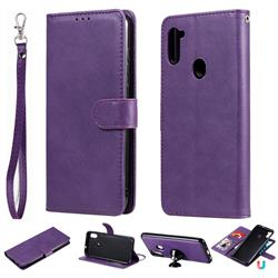 Retro Greek Detachable Magnetic PU Leather Wallet Phone Case for Samsung Galaxy M11 - Purple