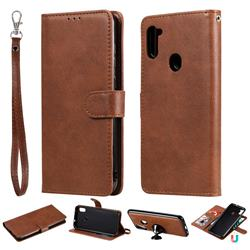 Retro Greek Detachable Magnetic PU Leather Wallet Phone Case for Samsung Galaxy M11 - Brown