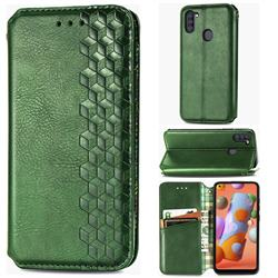 Ultra Slim Fashion Business Card Magnetic Automatic Suction Leather Flip Cover for Samsung Galaxy M11 - Green