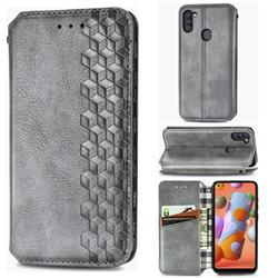 Ultra Slim Fashion Business Card Magnetic Automatic Suction Leather Flip Cover for Samsung Galaxy M11 - Grey